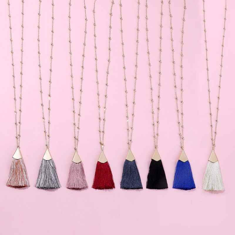 22 Color Option  2018 Rondell Bead Chain Long Tassel Pendant Sweater Necklace for Women Fashion Bohemian Statement Necklace