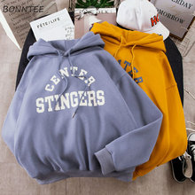 Hoodies Women Large Size Leisure Letter Printed Long Sleeve Hooded Womens Pullover Soft Cotton Korean Style Ladies Sweatshirts(China)