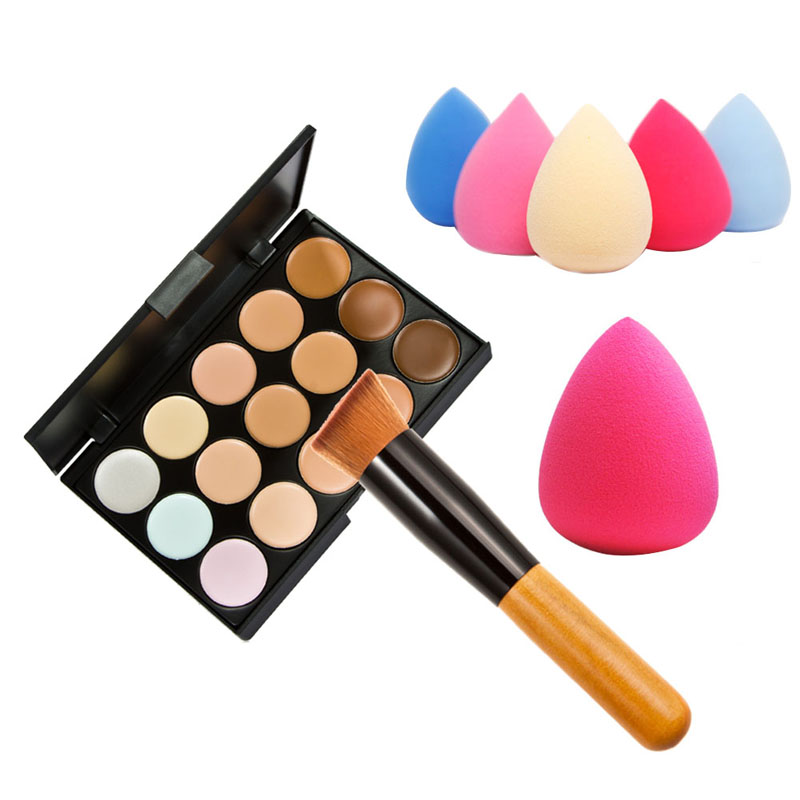 15 Color Concealer Palette Wooden Handle Make up Brush Teardrop shaped Puff Makeup Base Foundation Concealers