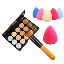 15 Color Concealer Palette + Wooden Handle Make up Brush+Teardrop-shaped Puff Makeup Base Foundation Concealers Face Powder