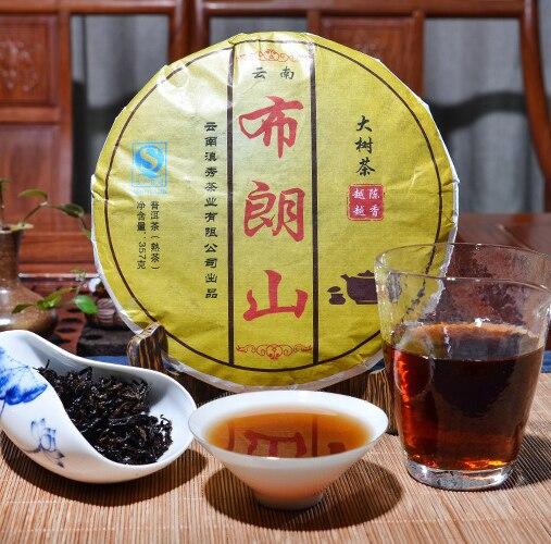 Hotsale Puerh Ripe tea Cake Bulang Large tree cooked 357g Tea Factory Lowering Blood Pressure Yunnan Pu erh free ship