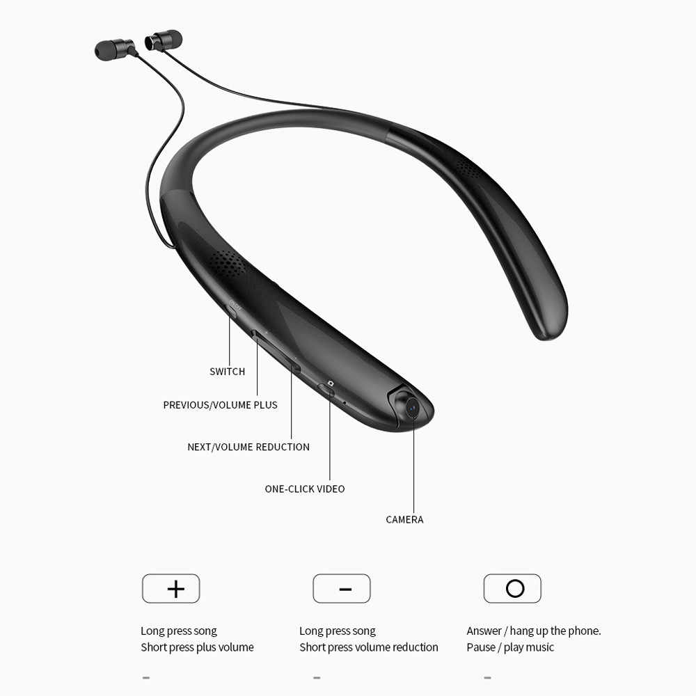Headset Nirkabel Bluetooth Neckband S Stereo Olahraga Retractable Neckband Nirkabel Tahan Air Headset Earphone