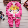 Free shipping,2016 Factory outlet baby clothing set cotton girl apple suit (coat+t-shirt+pants) autumn kids wear Retail