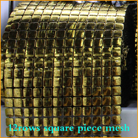 2014 Real Free Shipping 5yard Lot 6rows Gold Piece Plastic Rhinestones Mesh Trimming Sewing Trim Wedding