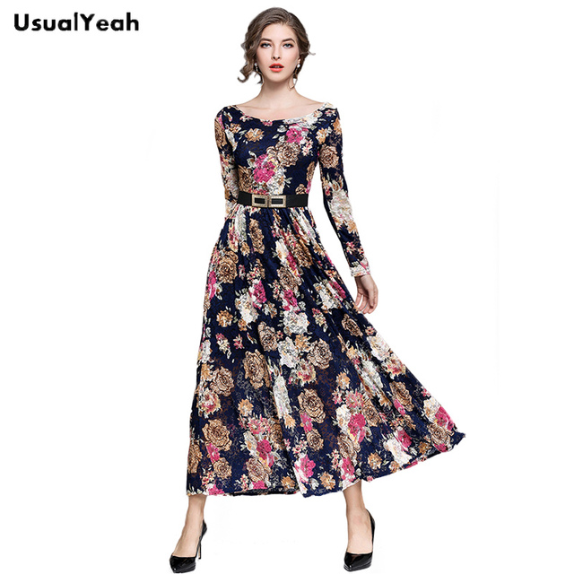 9f90de2538c USUALYEAH New 2018 Women Elegant Floral Long Dress Long Sleeve Lace Dresses  vestido de festa Party Dress with Belt QZ0354
