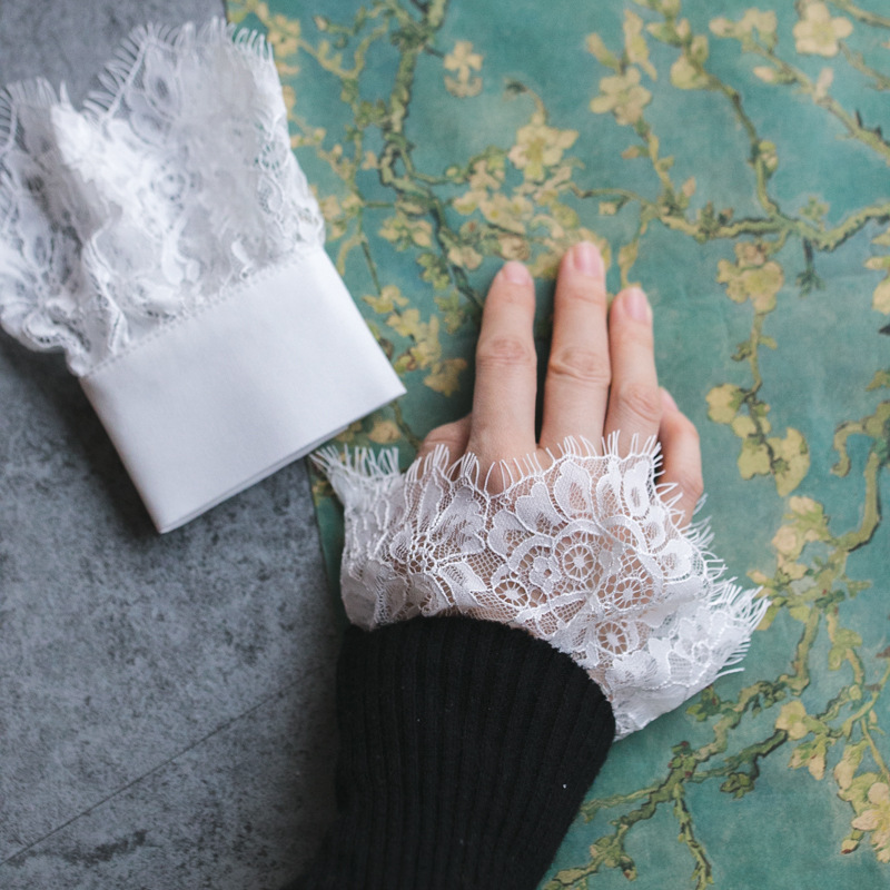 Fashion Joker Accessories Wrist Set Trumpet Cuff Sweater Coat Decorated Cuffs Bowl Set Lace Fall Winter Women Knit Sweater