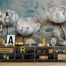 Papel Mural de pared floral Vintage europeo en relieve flor azul papeles de pared de fotos para pared de salón papel de pared de madeira