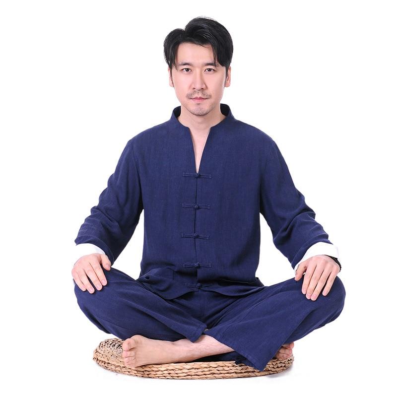2018 Man Yoga Set Solid Large Size Yoga Shirt Pants Zen Meditation Kong Fu Clothing Man Sportswear Set Gym Yoga Suit Tracksuit недорго, оригинальная цена