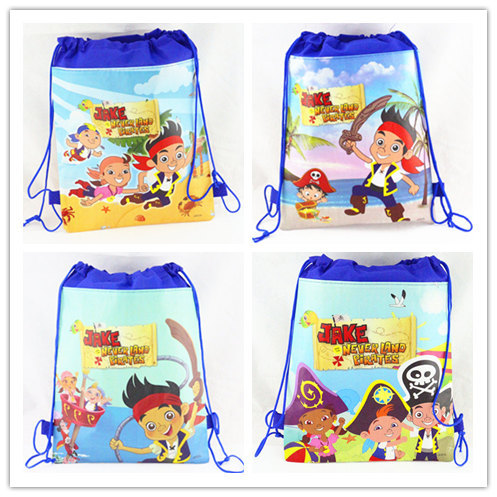 12Pcs Jake and the Never Land Pirates Drawstring Boys Cartoon School Bag Children Printing School Backpacks Gifts for Birthday
