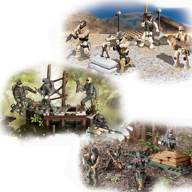 Set Game Army Soldiers Duty Call Military Series with Weapons Telescope Building Blocks Bricks Toys for Children image