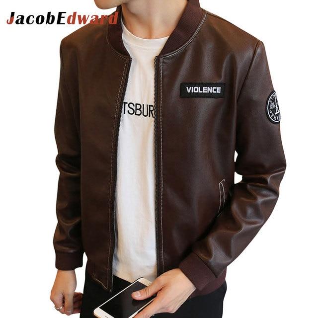 Leather Jacket Men Brand Clothing 2017 Stylish Winter Jackets Men Long Sleeve Slim Fit Motorcycle Pu Leather Jackets Men's Coat