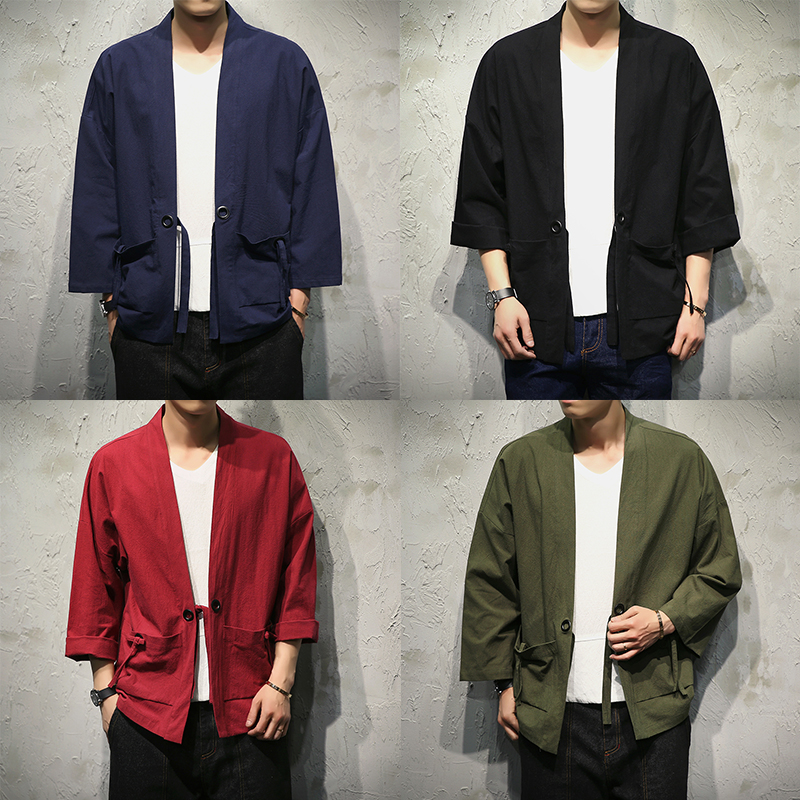 Sinicism Store Cotton Linen Shirts Men Kimono Traditional Open Stitch Shirt Belt Pocket Male Three Quarter Sleeve Shirt Harajuku #1