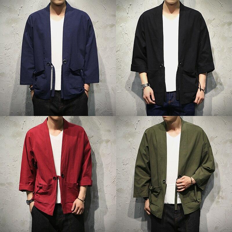 Sinicism tienda algodón camisas de lino hombres Kimono tradicional camisa de puntada abierta cinturón de bolsillo camisa de manga tres cuartos masculinos Harajuku