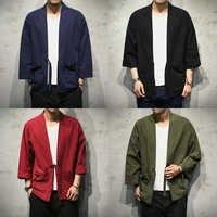 Sinicisme Store coton linge chemises hommes Kimono traditionnel point ouvert chemise ceinture poche mâle trois quart manches chemise Harajuku
