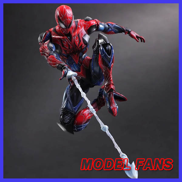 MODEL FANS Spider-Man ARKHAM KNIGHT PLAY ARTS KAI 27cm PVC Action Figure Toys Gift Model spider man play arts kai juguetes pvc action figure amazing spiderman play arts spider man kids toys brinquedos