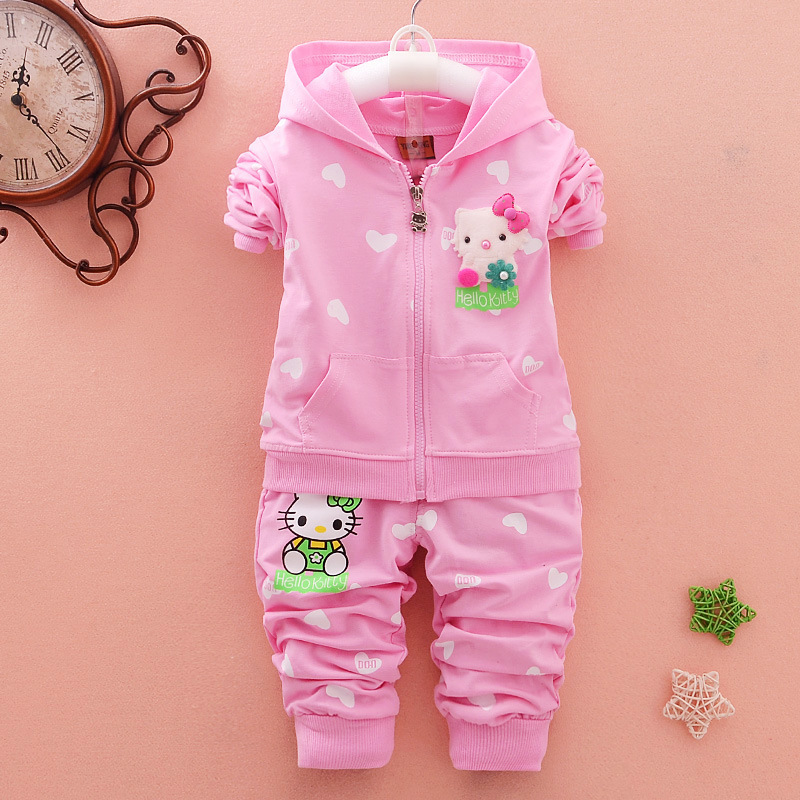 2018 Fashion Spring Autumn Boutique Outfits Baby Clothes Girls Sets Cute Cat Print Cotton Long Sleeve Coat Pants Trousers Suits 2017 new cartoon pants brand baby cotton embroider pants baby trousers kid wear baby fashion models spring and autumn 0 4 years