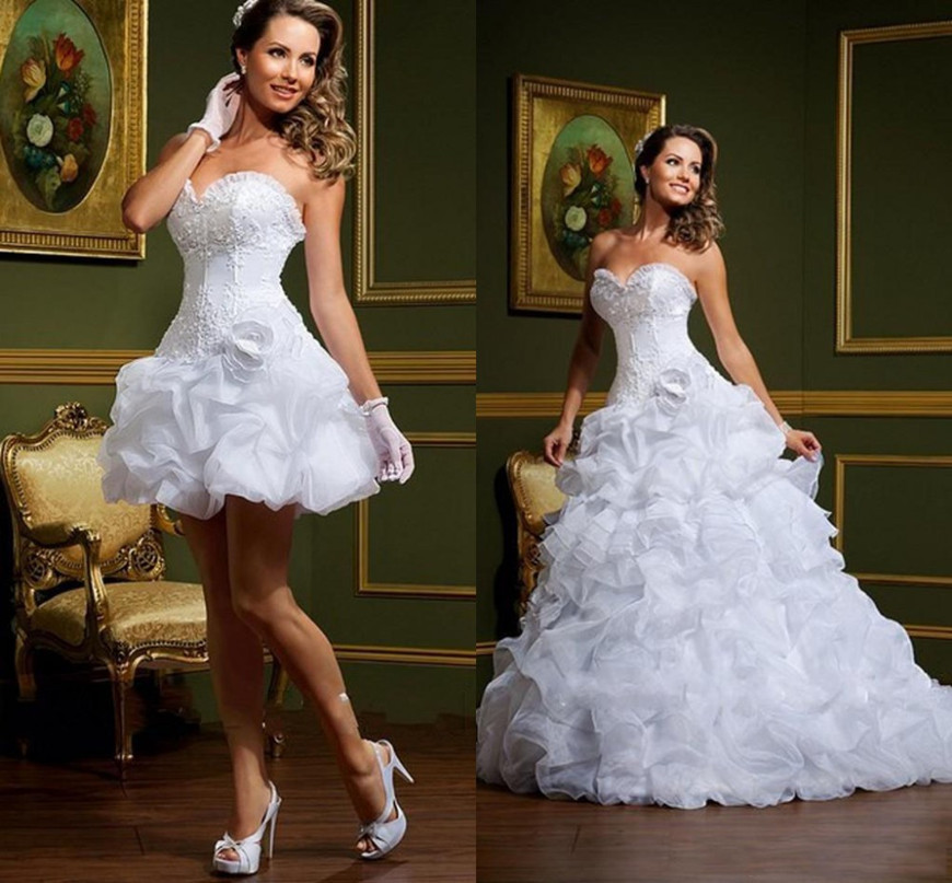 Sexy Strapless Wedding Dresses With Removable Skirt Sweetheart Full Ruffle Organza Floor Length Prom Gown Custom Made