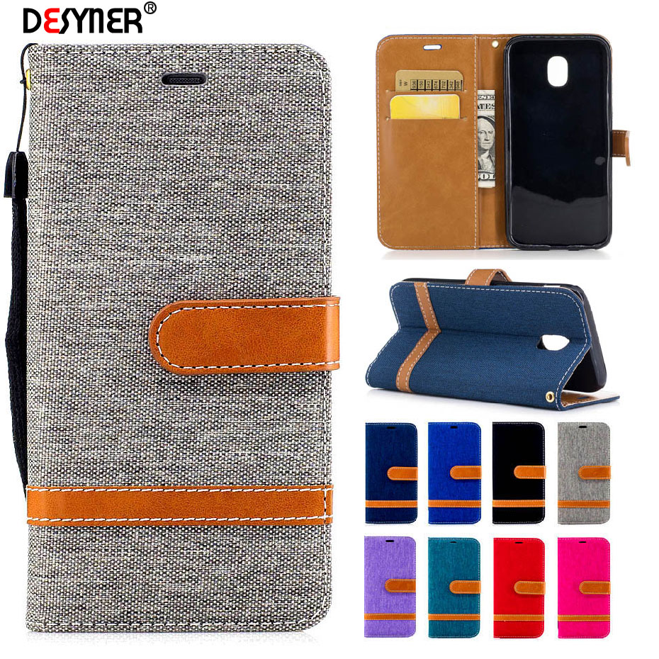 Galleria fotografica Desyner Denim Mixed Colors Leather Flip Case For Samsung galaxy J5 2017 J530 Leather Bag Case with Stand Card slot Wallet Cover