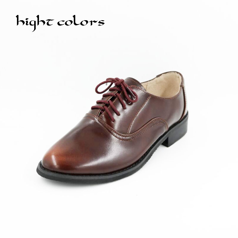 Size 34-43 New 2018 Vintage Genuine Leather Flats Womens Spring Autumn Lace Up Casual Thick Heel Brogues Shoe Woman Oxford Shoes genuine leather mens oxford shoes breathable men flats casual martin boots shoes 2017 spring autumn summer lace up unisex shoe