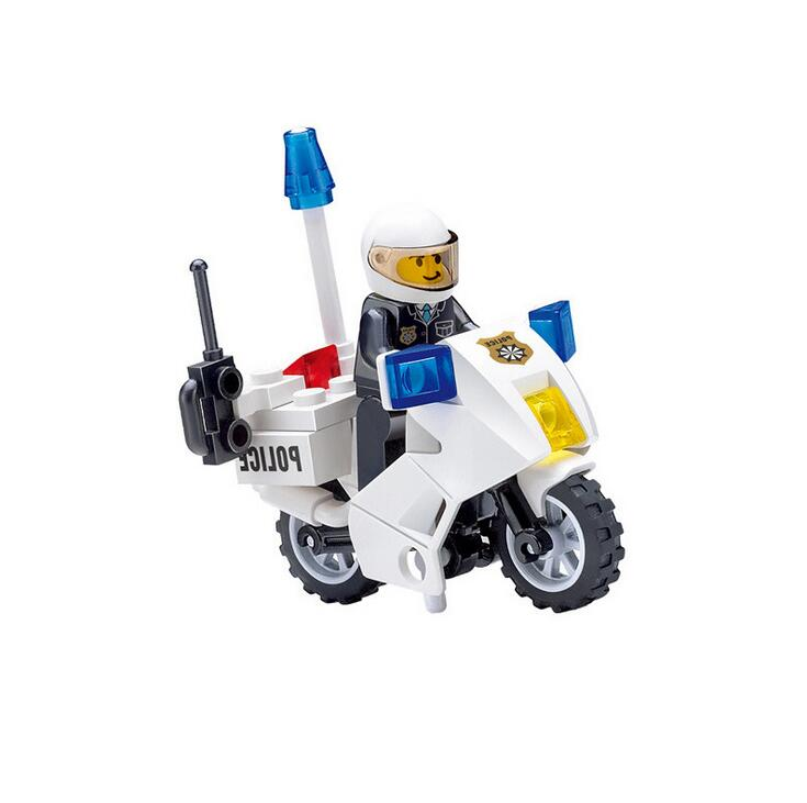 KAZI NEW6734 Police Motorcycle Playmobile Building Blocks Police Motorbike Bricks Kids Boys Birthday Gift Toys for Children 8 in 1 military ship building blocks toys for boys