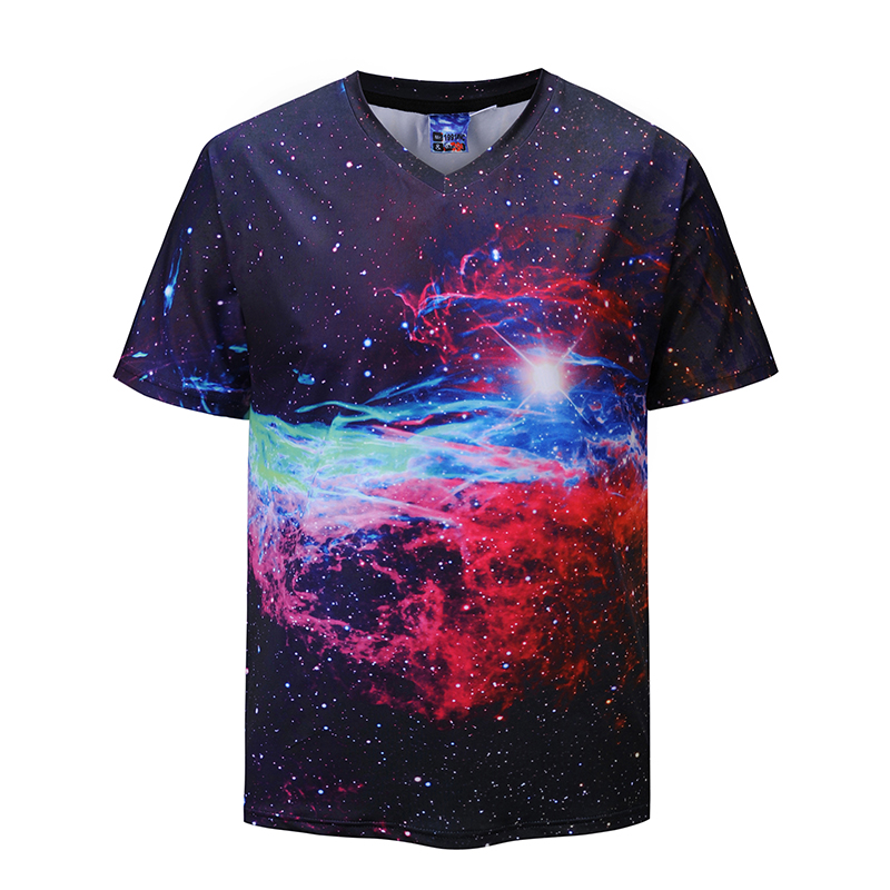 Mr.1991INC Mens T shirts Creative 3D Cosmic sky t shirt Men Short Sleeve Summer Tops Tees V-neck T-shirts Euro Plus Size