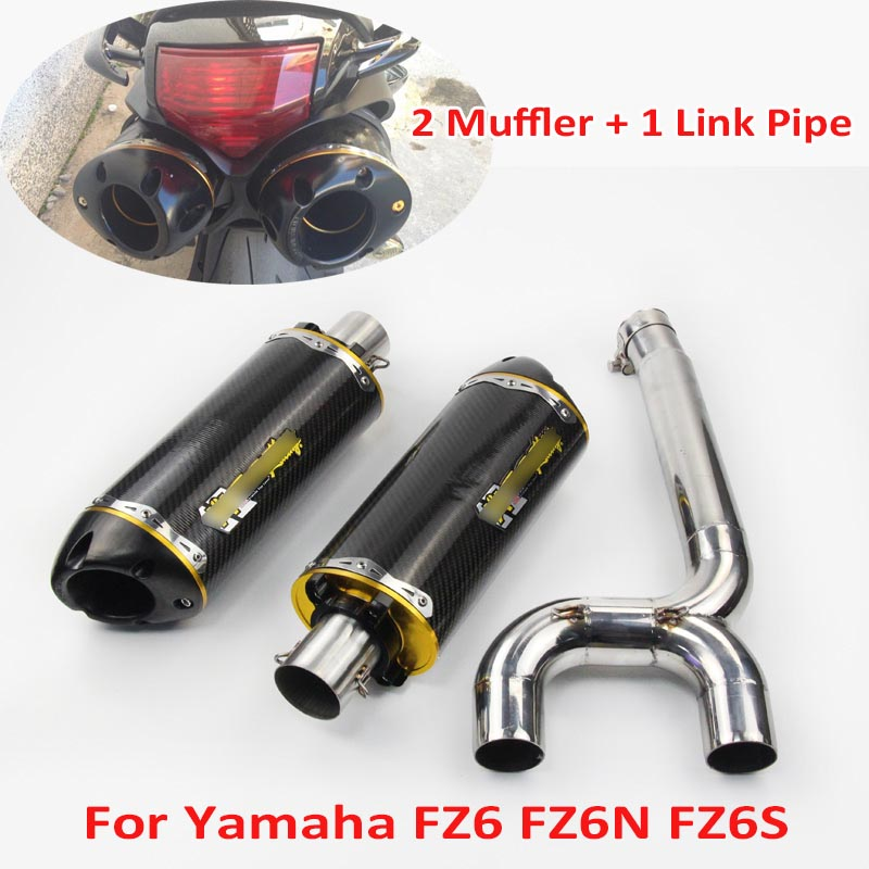 FZ6 FZ6S FZ6N Motorcycle Carbon Fiber Exhaust Muffler Connecter Middle Pipe Full System Slip on for