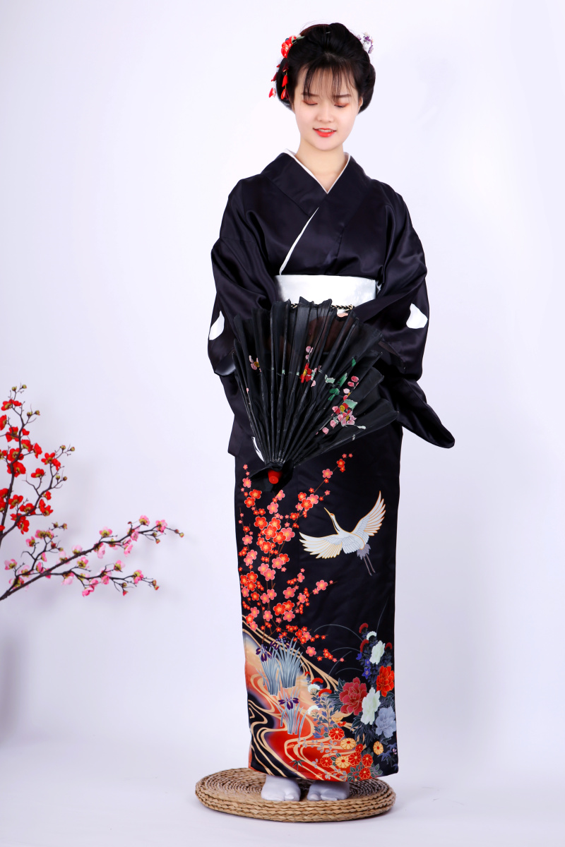 Black Japanese Women Formal Dress Vintage Printed Kimono Yukata High Quality 9 Pieces Cosplay Costume Set Girl Long Robe Gown