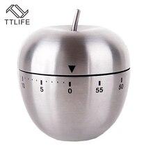 Herramienta de cocina de acero inoxidable mecánica huevo cocina ttlife apple despertador temporizador 60 minutos temporizador recordatorio magnética