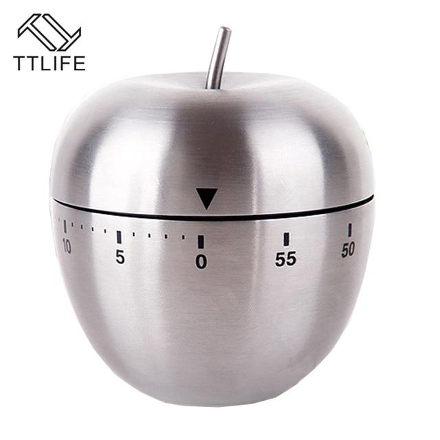 US $8.35 24% di SCONTO|Ttlife acciaio inossidabile strumento di cottura  meccanica egg timer da cucina cooking apple alarm clock 60 minuti magnetico  ...
