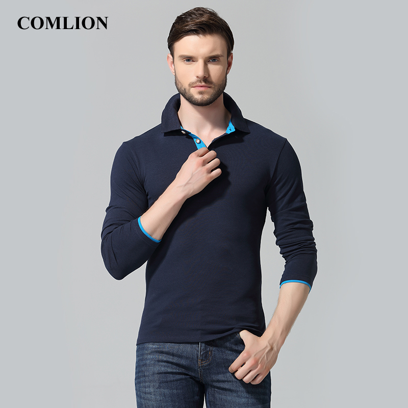 COMLION 2018 Men's Long Sleeve Polos New Brand Plus Size Mens Fashion Poloshirts Cotton Hombre Casual Solid Polo Shirts Homme 13