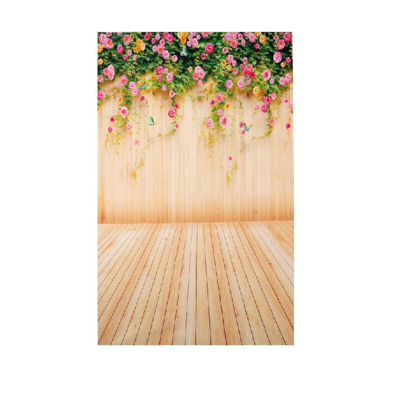 OOTDTY 3x5FT Flower Wood Wall Vinyl Background Photography Photo Props Studio Backdrop L15 huayi 4pc 2x2ft wood floor brick wall backdrop vinyl photography backdrops photo props background small object shooting gy 019