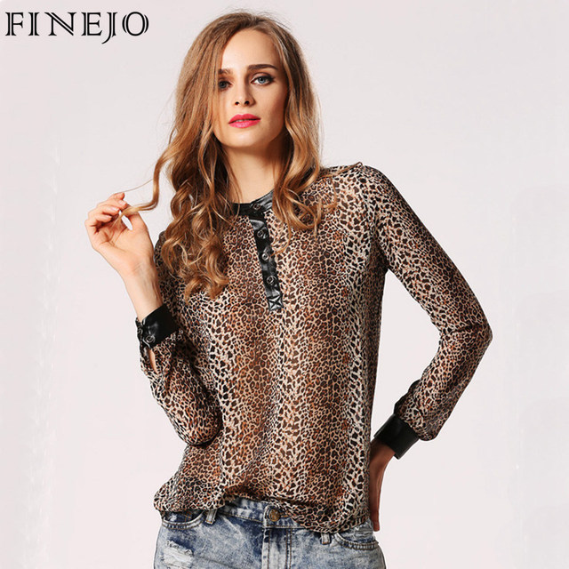 FINEJO Fashion Women Blouses Leopard Print Blusas Femininas 2017 Tops Shirt Chiffon Loose Shirts Plus Size Womens Tops Chemise
