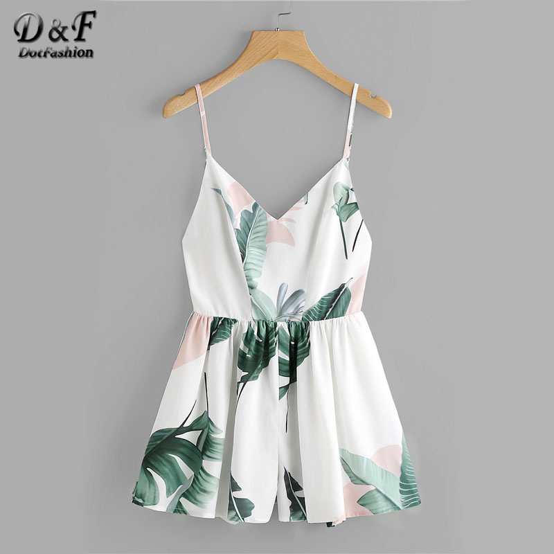 Dotfashion Jungle Leaf Print Crisscross Back Playsuit With Lining 2018 Women V neck Sleeveless Vacation Romper