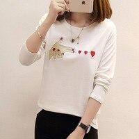 Koreański T-shirt Kobiety Czarny Biały Długi Rękaw Palec Miłość Wzór Tee Shirt Kobiety Hurtownie