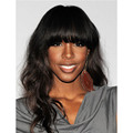 Salomon Kelly Rowland Long Wavy  Black Color African American Wigs Capless Synthetic Hair Wigs About 18 Inches