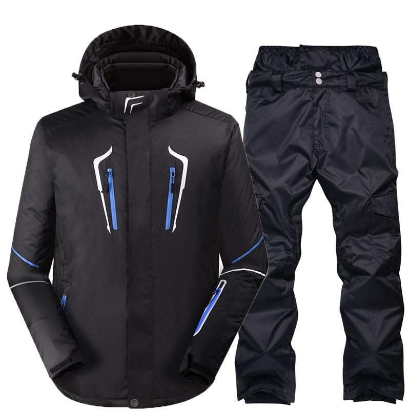 Combinaison de Ski Mâle Coupe-Vent Imperméable Épaissir Neige Vêtements Pour hommes Snowboard Veste Pantalon Costume D'hiver Ski Manteau Pantalon - 3