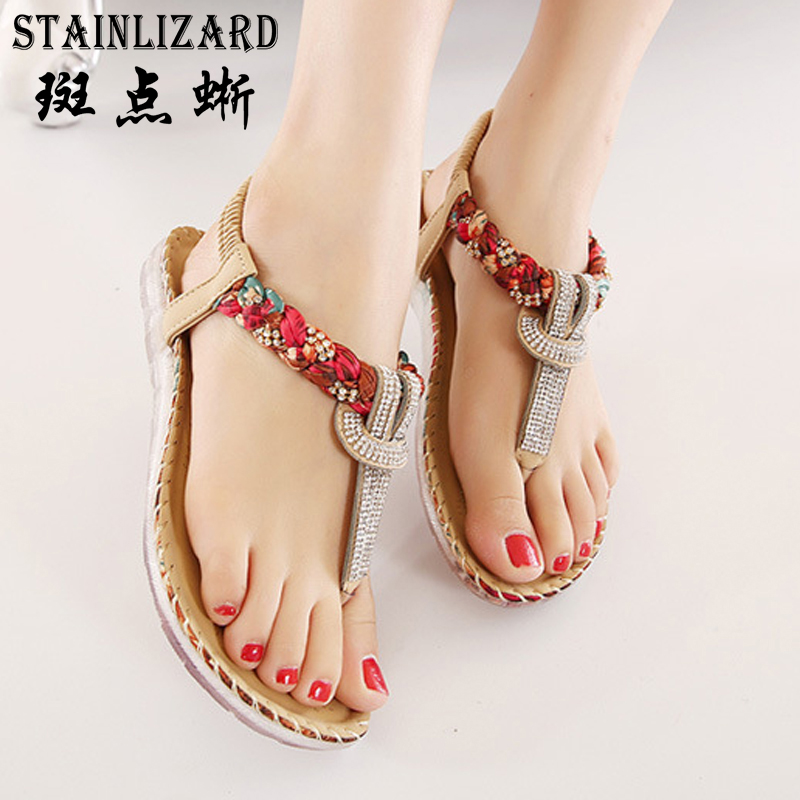 Women Sandals Bohemia Women Casual Shoes Sexy Beach Summer Girls Flip Flops Gladiator Fashion Cute Women Flats Sandals ABT538 aakt brand fashion casual women shoes string bead women summer sandals shoes flats lady cute flip flops women slippers