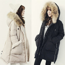 High Quality 2016 Winter Thick Real Large Raccoon Fur Collar Down Coat White Duck Feather Parka Women's Medium-long  Down Jacket