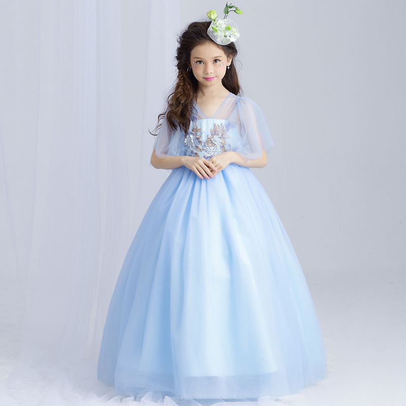 Girls Maxi Dresses Baby Clothes Party Tutu dress Flower Girls Wedding Princess Dress Kids 4T 5 6 7 8 9 10 11 12 13 15 years old children princess clothes white grey lavender pink dresses kids 5 6 7 8 9 10 11 12 13 years long party dress girls wedding gowns