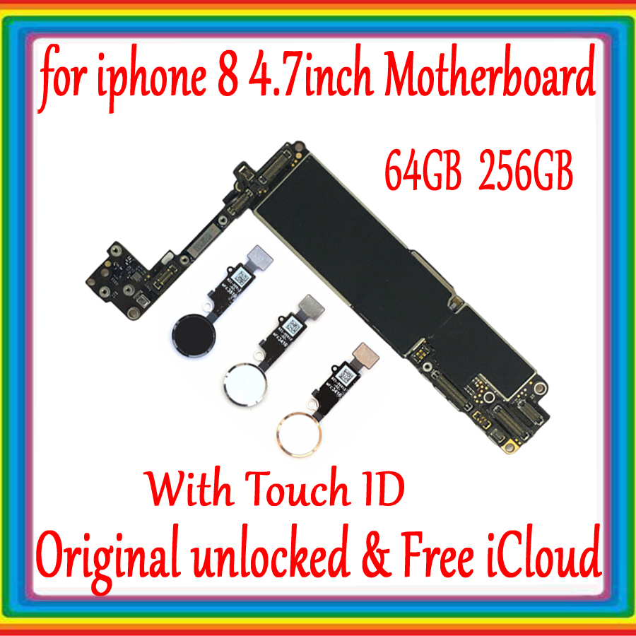 100% Original Unlocked For Iphone 8 4.7 Inch Motherboard With Touch ID/Without Touch ID For Iphone 8 Logic Board Good Tested