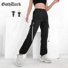 дешево!  Гот Темно-Черный Голографический Панк Готические Брюки Для Женщин Лоскутное Harajuku Осень 2019 Мода