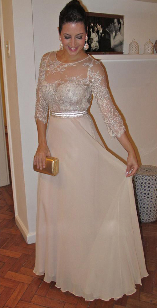 cf6967817f4 New Modeat Style 3 4 Sleeve Pearls Champagne Lace Chiffon Mother of the  Bride Dress