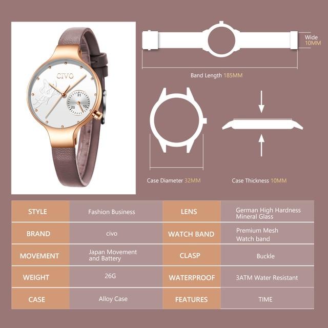 CIVO 2019 New Fashion Ladies Watch Quartz Genuine Leather Watches Butterfly Lady Bracelet Dress Watch Women Wristwatch Clock 4