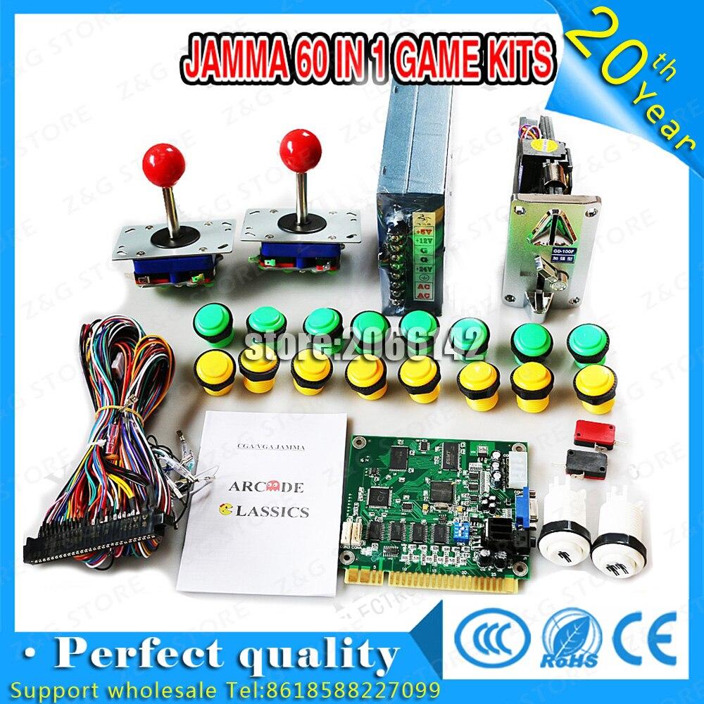 Bricolage JAMMA jeu d'arcade 60 en 1 jeu pièces de kit de carte PCB pour alimentation 24 V, haut-parleur, joystick zippy, bouton poussoir, fil jamma, pieds de carte PCB