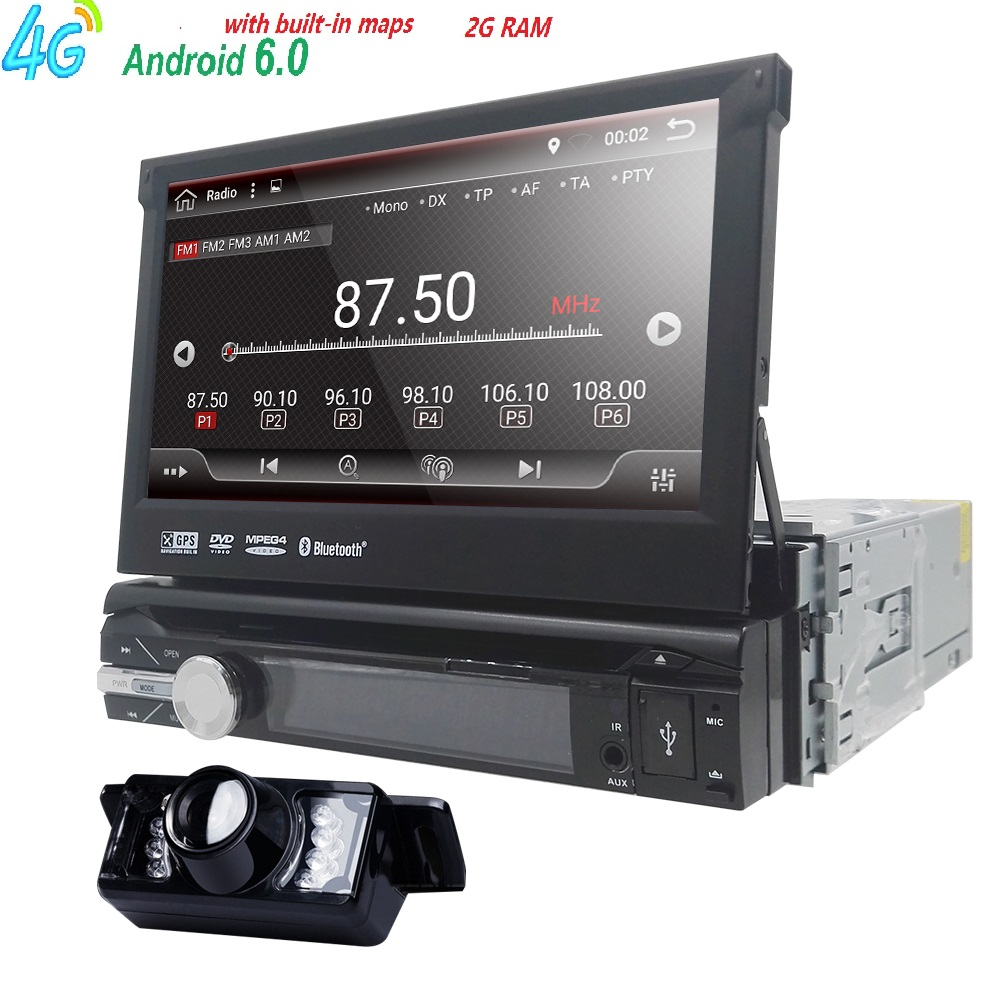 Android 6.0 Universal 1 Din Car video Player GPS Navigation In dash Detachable Front Panel 1 din Car Radio Stereo with BT 2G RAM