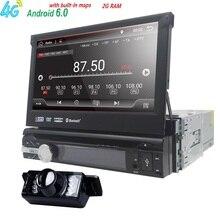 Android 6.0 Universal 1 Din Navegación GPS En el tablero de Coches Reproductor de vídeo Panel Frontal desmontable 1 din Car Radio Stereo con BT 2G RAM