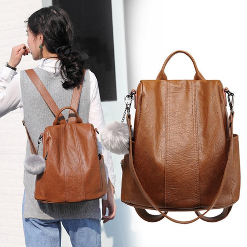 Backpack Bag For Women 2019 School Bag Ladies Anti Theft Backpack For Teenage Girl Vintage Leather Rucksack Bagpack Bookbag