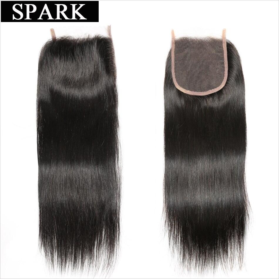 Spark բրազիլական ուղիղ մազերի 4x4 ժանրի - Մարդու մազերը (սև) - Լուսանկար 2