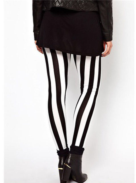 New Hot Plus Size Women Casual Black White Striped Wide Elastic Stripes Stretch Leggings Long Trousers HOT 5