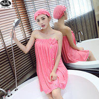 Autumn Winter Butterfly Bow Cute Bath Robe Women Sexy Wrapped Chest Robes Women Sweet Bath Towel